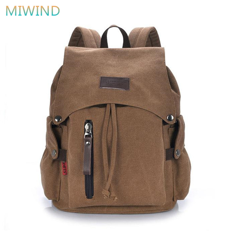 MIWIND Newest 2017 Men's Rucksack Vintage Canvas Backpack Women School Bags Large Capacity Travel Backpack Mochila Escolar CB270 newest hmong embroidered women backpack black canvas ethnic casual travel backpack fashion vintage laptop bags