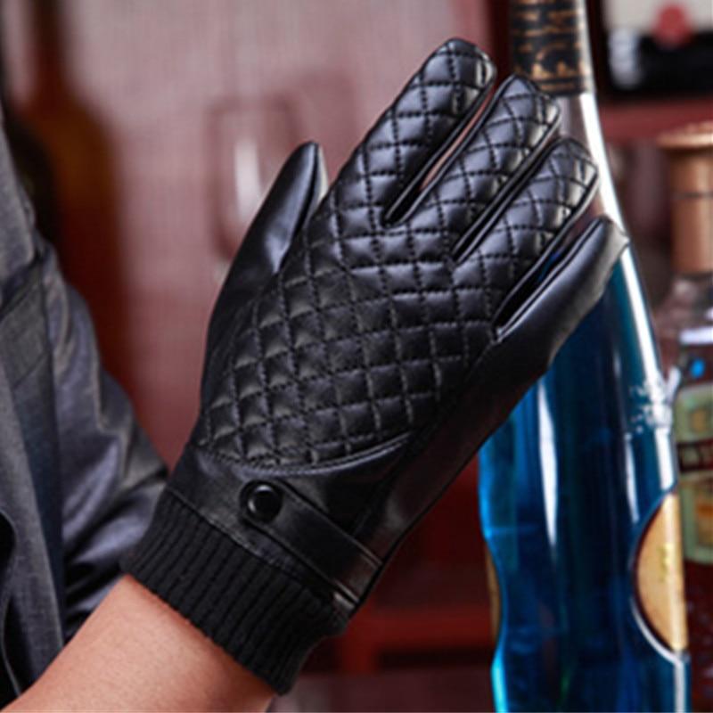 valpeak 2017 winter gloves male mens car driving full finger black leather mittens gloves touch. Black Bedroom Furniture Sets. Home Design Ideas