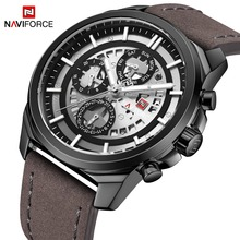 Mannen Horloges NAVIFORCE Top Merk Mannen Casual Lederen Datum Quartz Horloge mannen Week Militaire Sport Horloge Relogio Masculino