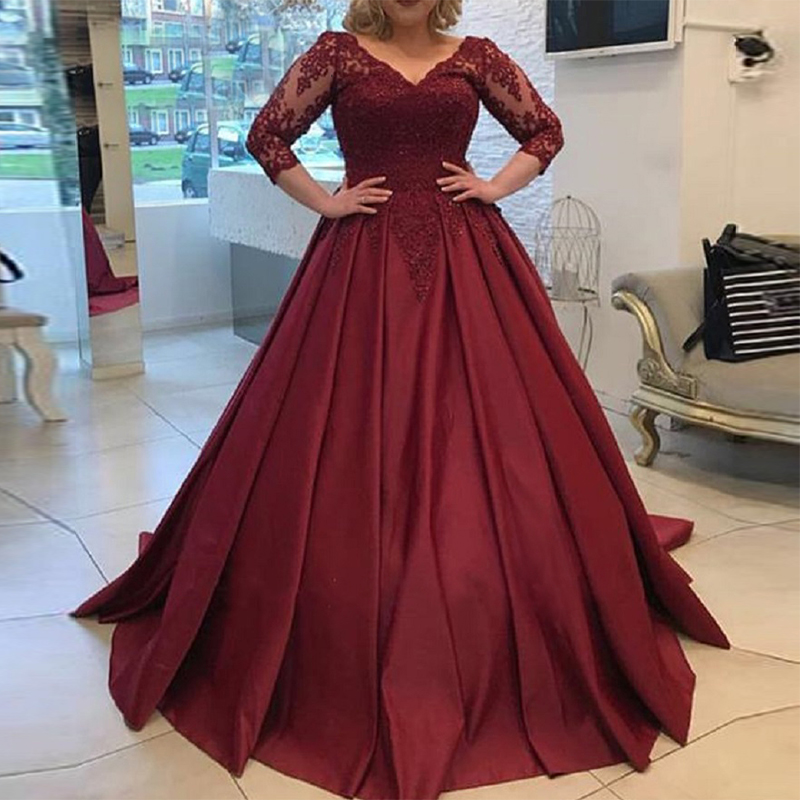 Elegant Plus Size   Prom     Dresses   With 3/4 Sleeves V-neck Puffy Ball Gown Burgundy Satin Appliques Long Formal Party   Dress