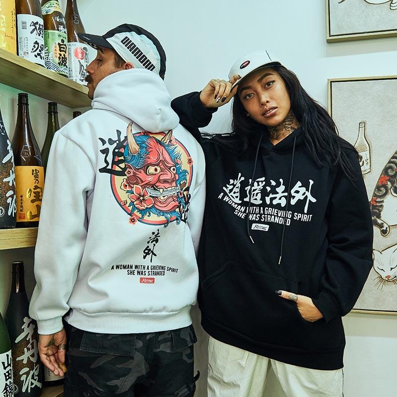 Japanese Embroidery Funny Cat 3D Wave Printed Fleece Hoodies 2019 Winter Japan Style Hip Hop Casual Sweatshirts Streetwear