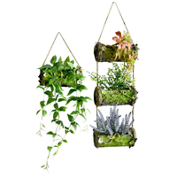 WHISM Wood Simulation Flowerpot Planter Baskets Multi Layers Hanging Wall Wedding Home Pastoral Decoration Metope Flora