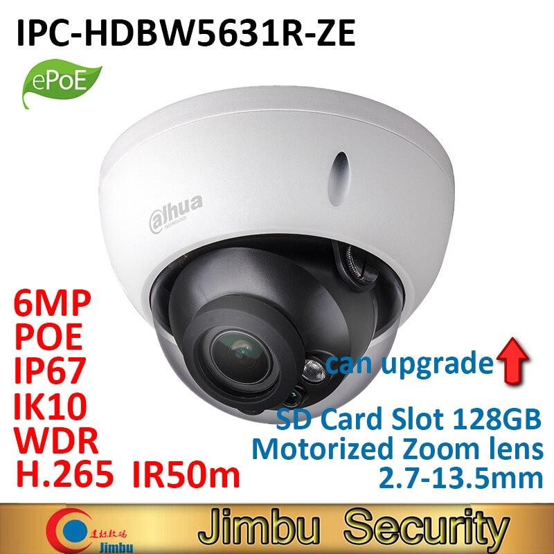 Dahua IP ePOE Camera 6MP POE IR 50M IPC-HDBW5631R-ZE 2.7mm ~13.5mm motorized lens IP67 IK10 H.265&H.264 SD card slot 128GB dahua ip camera poe 4mp ipc hdbw4433r zs starlight 2 7mm 13 5mm motorized lens h2 65 ir50m sd card slot ip67 ik10