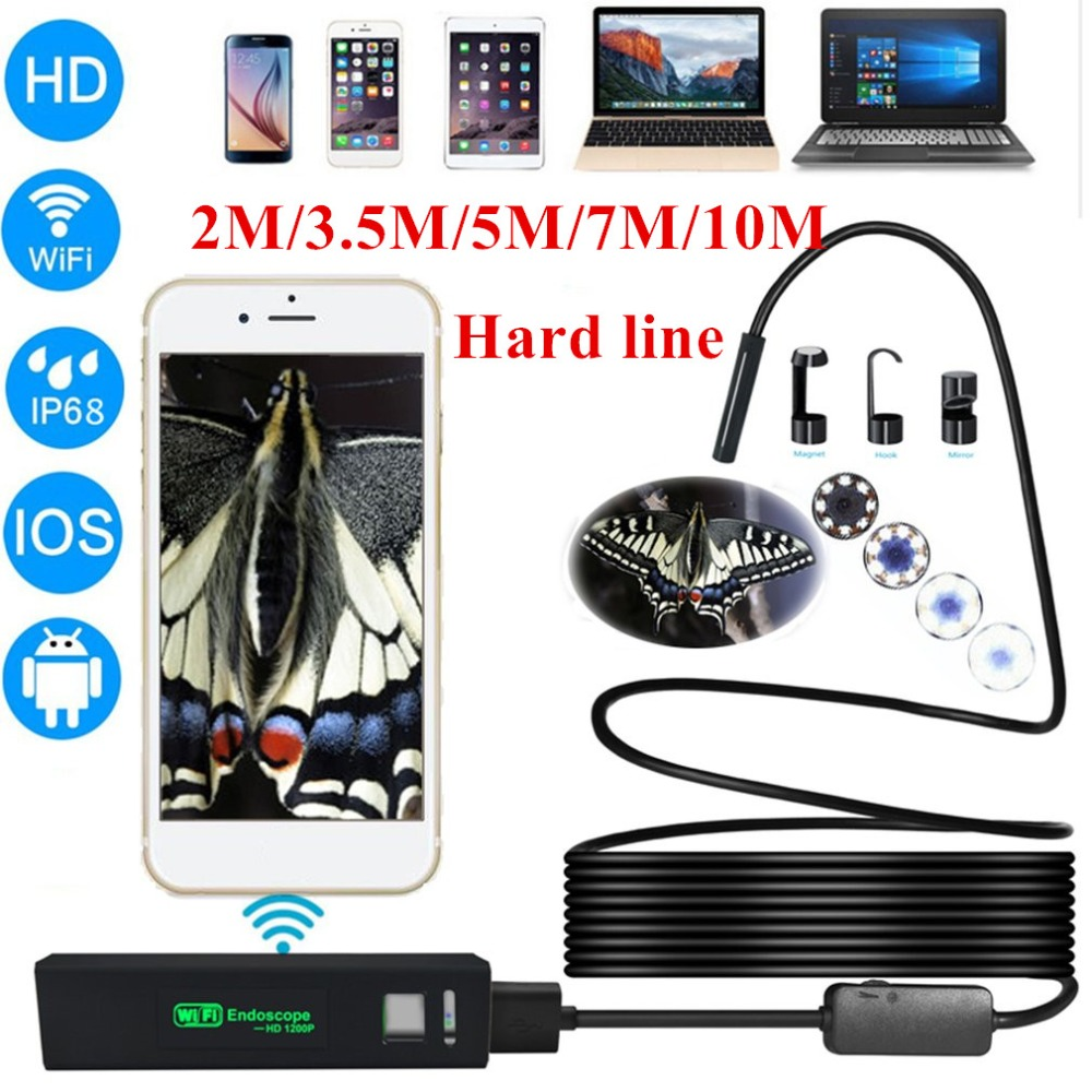 HD 1200P Wireless WiFi Endoscope Mini Waterproof Semi Rigid Inspection Camera 8mm Lens 8LED Borescope For IOS And Android PC hotHD 1200P Wireless WiFi Endoscope Mini Waterproof Semi Rigid Inspection Camera 8mm Lens 8LED Borescope For IOS And Android PC hot