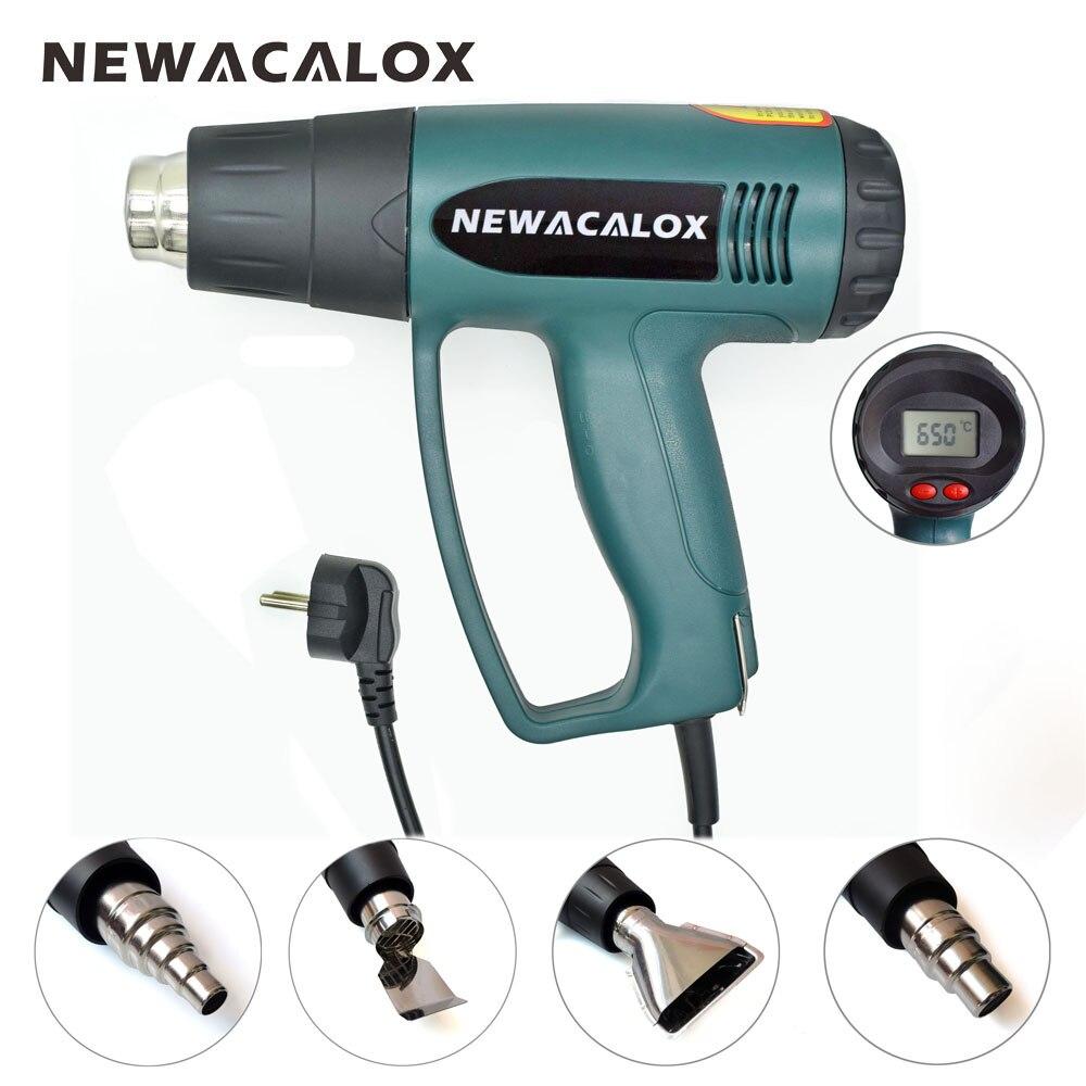 NEWACALOX LCD Display EU 220V 2000W Heat Gun Temperature Adjustable Industrial  Hot Air Gun  Shrink Wrapping Thermal Heater