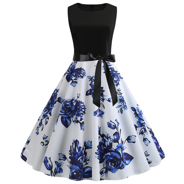 Womail dress Summer Vintage Sleeveless Print O-Neck Dress Evening Party Elegant Dress with Belt Daily fashion  2020  M9 2