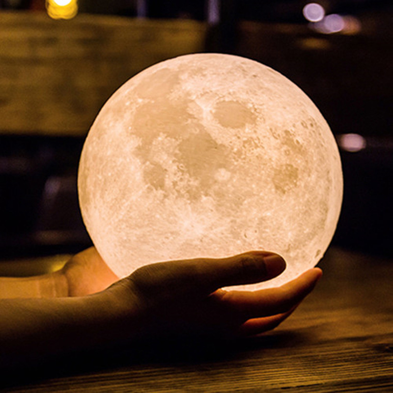 Shop For Cheap 15cm 3d Print Led Moon Light Magical Projection Usb Charging Night Light Lamp Desk Ball Light With Wood Base Home Decor Carefully Selected Materials Led Lamps
