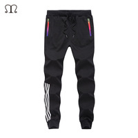2017 Casual Skinny Zipper Botton Sweatpants Solid Hip Hop High Street Trousers Pants Men Joggers Slimming