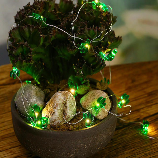 3 m 30 led green cactus shape string lights copper wire decorative lamp room outdoor lighting