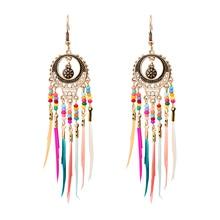 MISANANRYNE Bohemian Ethnic Long Statement Colorful Tassel Drop Earrings Beads Fringe Earrings Women Fashion Dangle Earrings colorful enamel green tassel dangle earrings