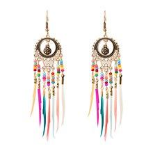 MISANANRYNE Bohemian Ethnic Long Statement Colorful Tassel Drop Earrings Beads Fringe Women Fashion Dangle