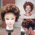 Ombre corto afro rizado rizado pelucas llenas del cordón 10 inch 150% 1b # oscuro raíz Mlalaysian rizado afro rizado peluca de cabello humano pelucas delanteras del cordón