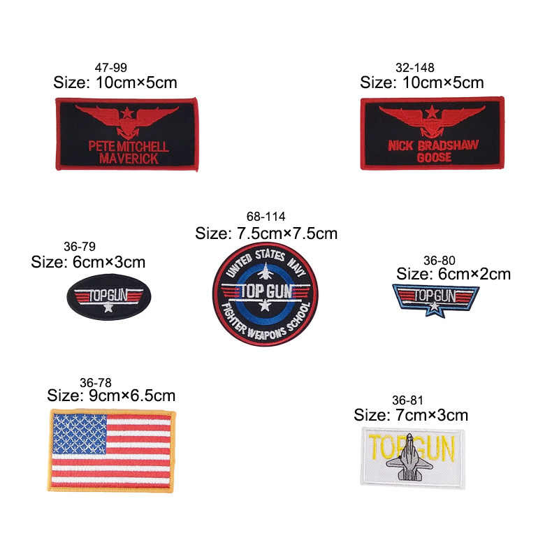 Top Gun TOPGUN Embroidered Patches PETE MITCHELL MAVERICK NAME TAG US NAVY PATCH TOP GUN USA American Flag Wings Maverick