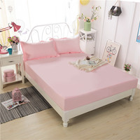 Simple And Generous Beautiful Solid Color Pink Polyester Waterproof Bed Fiber Pure Fitted Sheet High Quality