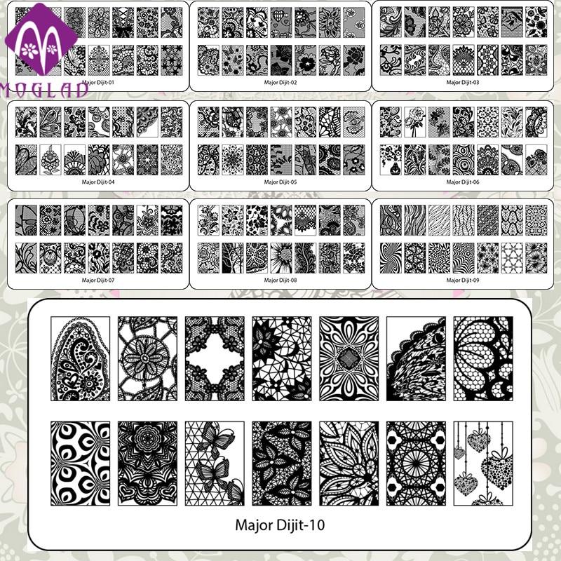 Moglad hoge kwaliteit nail art template kant major digit nail art stempel stempelen afbeelding plaat met 10 ontwerpen