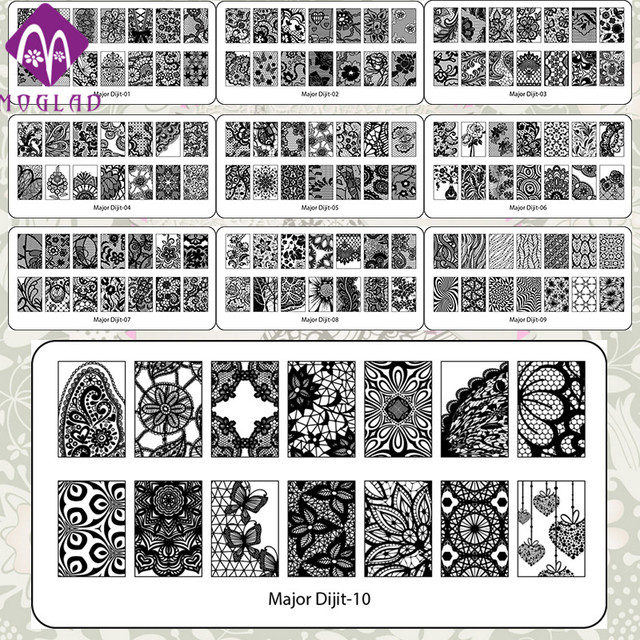 Moglad high quality nail art template lace major digit nail art ...