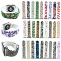 Colorful Flower Skull Sports Silicone Band for Apple Watch iWatch Rubber Watch Strap for Apple Watch Series 2 Bracelet 42/38mm