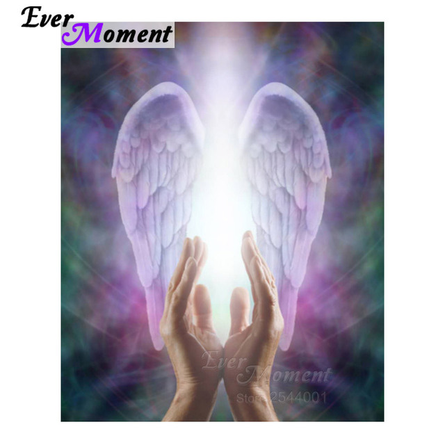 b0c593ed4 Ever Moment 5D Diy Diamond Painting Religious Beautiful Praying Hands Guardian  Angel Wings Embroidery Cross Stich