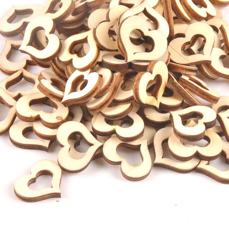 17x20mm 50Pcs Hollow Out Heart Wooden Ornament For DIY Crafts Scrapbook Accessories Handmade Wood Slices Home Decoration M1774