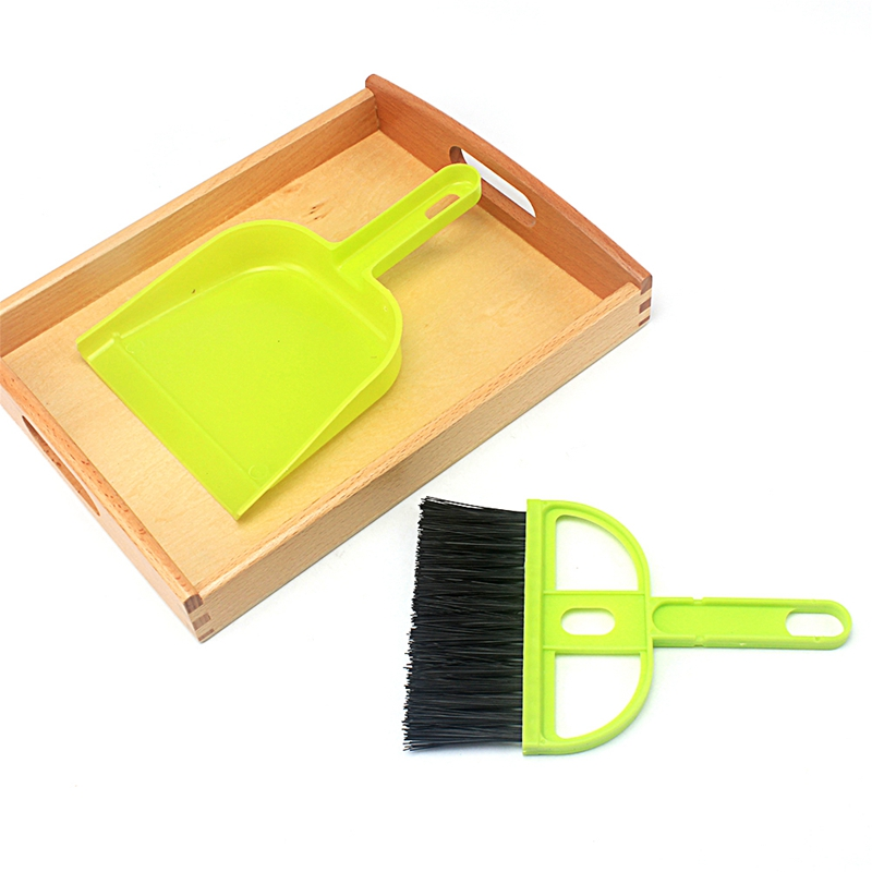 Kids Montessori Teaching Toys 1pc Cleaning Set With Wooden Tray Practical Basic Life Skill Preschool Educational Learning Toys To Be Highly Praised And Appreciated By The Consuming Public Home