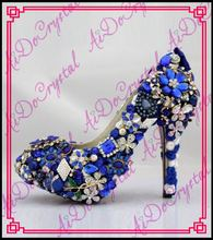Aidocrystal crystal rhinestone bridal shoes royal blue wedding high heels women platform diamond single pumps