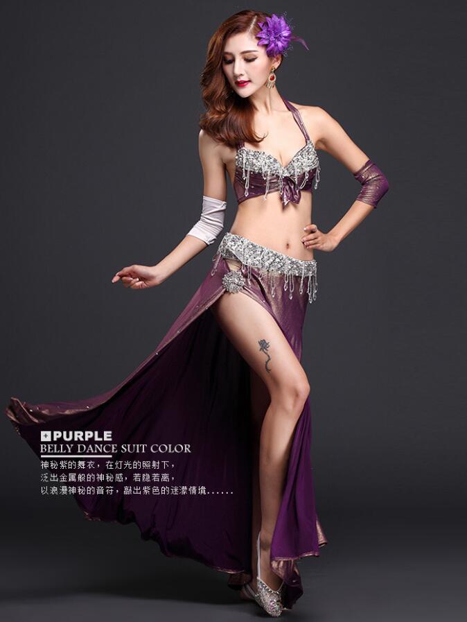 Livraison gratuite de luxe 4 pièces femmes danseuse du ventre Costume fête robe de bal élégante princesse scène Performance vêtements