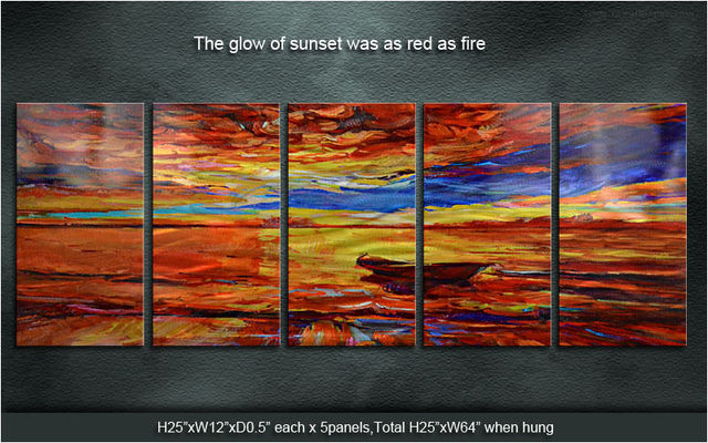 Original Classic Metal Art Abstract Wall Painting The Sunset