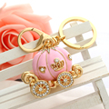 Cute Rhinestone pumpkin car Pendant Keyring Car Bag Purse Keychain Gold Plated Key Chain Sleutelhanger Christmas porte clef