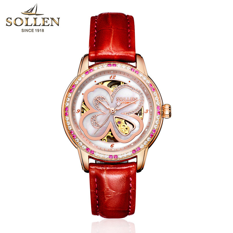 Clover ladies font b watch b font wholesale waterproof automatic mechanical font b watch b font