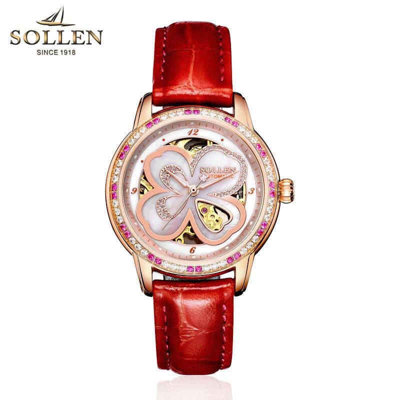 Clover ladies watch wholesale waterproof automatic mechanical watch female hollow women watch цена и фото
