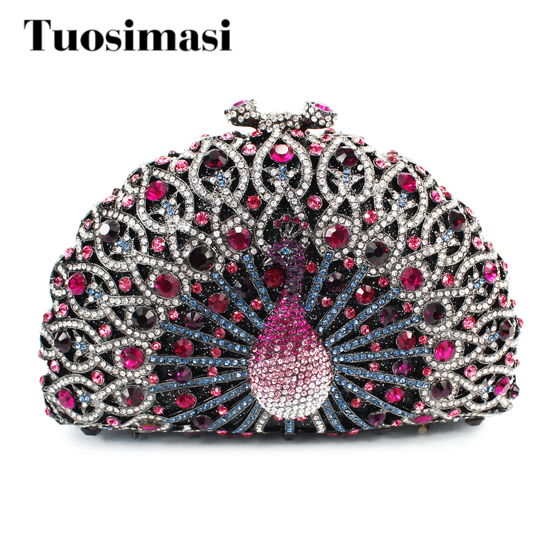 Newest hot selling colorful peacock clutch bags rhinestone purse women bags handbags(8105A-R) shining rhinestone peacock colorful femininity earrings golden pair