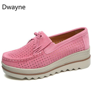 Image 3 - Dwayne 여성 플랫 플랫폼로 퍼 숙 녀 우아한 정품 가죽 Moccasins 신발 캐주얼 여성 신발에 여자 가을 슬립