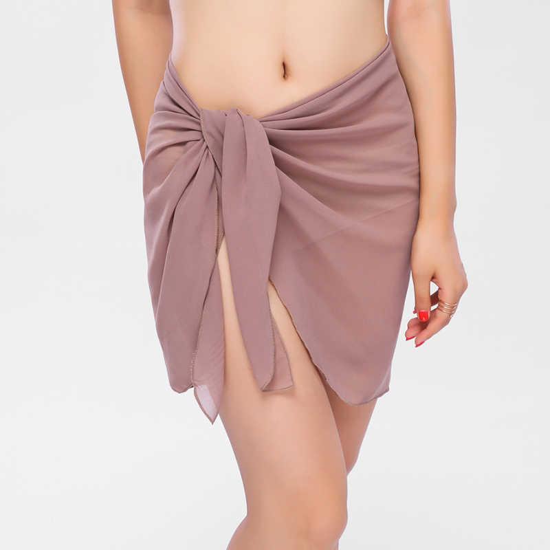 6881bc3518 ... 10 Colors Sexy Swimwear Women Beach Skirt Solid Color Chiffon Cover Up  Bikini Wrap Beach Sarong ...
