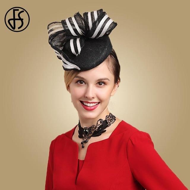 4b15baaf7 US $39.88 30% OFF|FS Vintage Womens Derby Hat Black Fascinators Sinamay  Church Hats For Ladies Wedding Pillbox Dress Tea Party White Hat Fedoras  -in ...