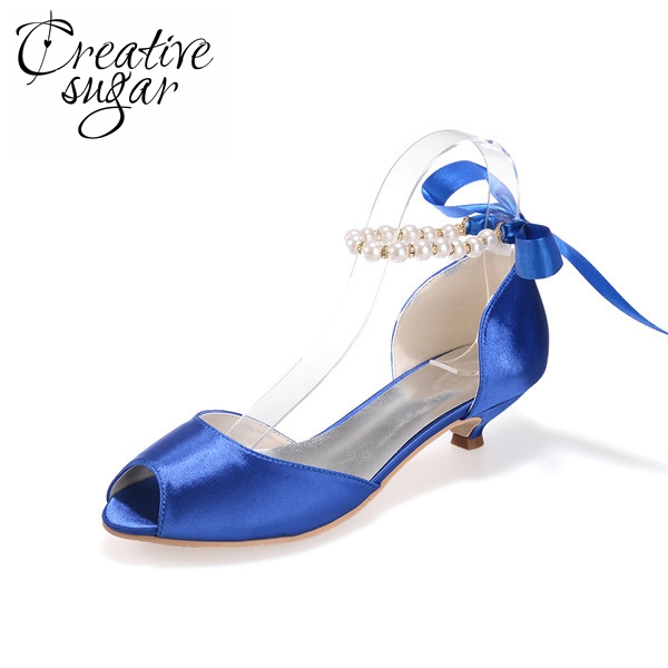 Creativesugar ladies open toe two piece Dosay kitten heel shoes elegant satin peep toe w/ ribbon bow pearl ankle strap weddingCreativesugar ladies open toe two piece Dosay kitten heel shoes elegant satin peep toe w/ ribbon bow pearl ankle strap wedding