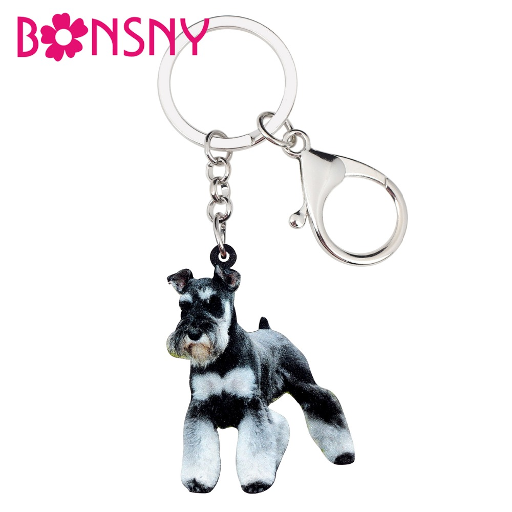 Bonsny Acrylic Cartoon Schnauzer Dog Key Chains Keychain Holder Rings  Animal Jewelry For Women Girls Bag Wallet Pet Charms Gift