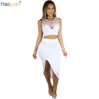HAOYUAN Autumn Sexy 2 Piece Skirt Set Bodycon Sleeveless Round Neck Crop Top And Skirt Set