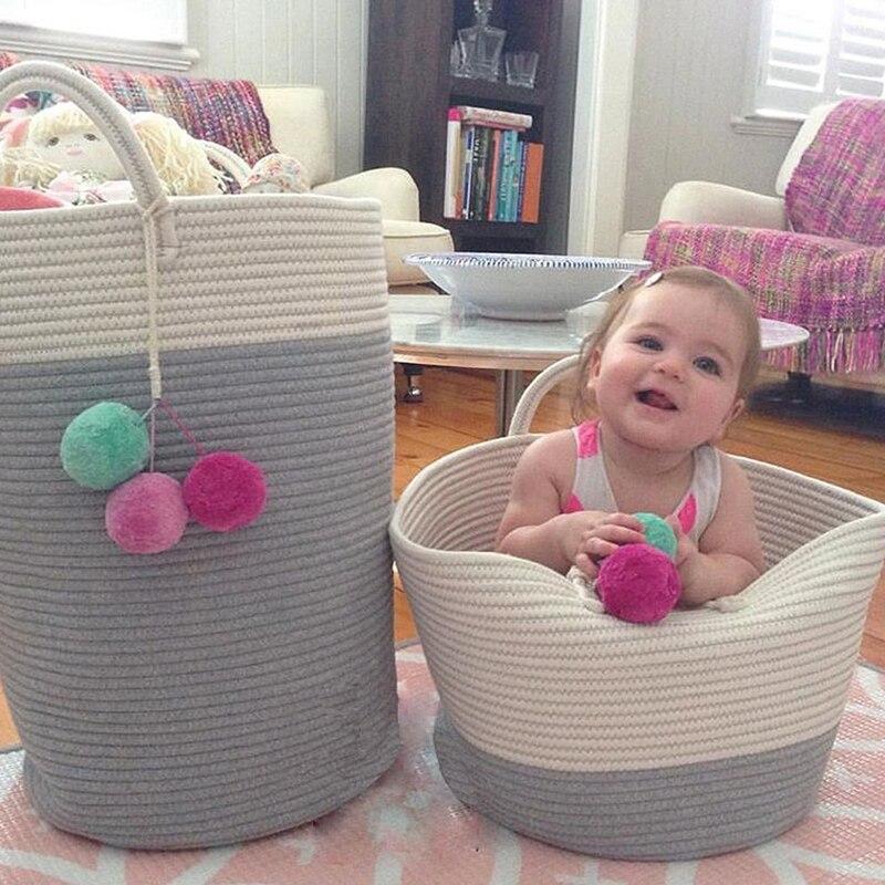 Nordic Style laundry basket Cotton Thread Woven Storage Organizer Basket Toy Clothes Organizer Storage Basket Laundry Helper