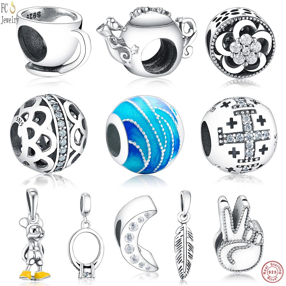 FC Jewelry Fits Original Pandora Charm Bracelet 925 Silver Enamel Sea Mickey Cross Ring Coffee Cup Beads for Making DIY Berloque