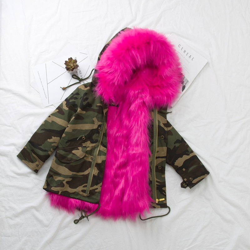 Teenage Girls Fur Coat Kids Winter Coat Faux Fox Fur Liner Jackets Children's Outerwear Baby Girl Thick Warm Coat Boys Parkas children s unisex faux fur clothing 2018 winter girls and boys patchwork faux fur jackets boys long faux fur outerwear kids coat
