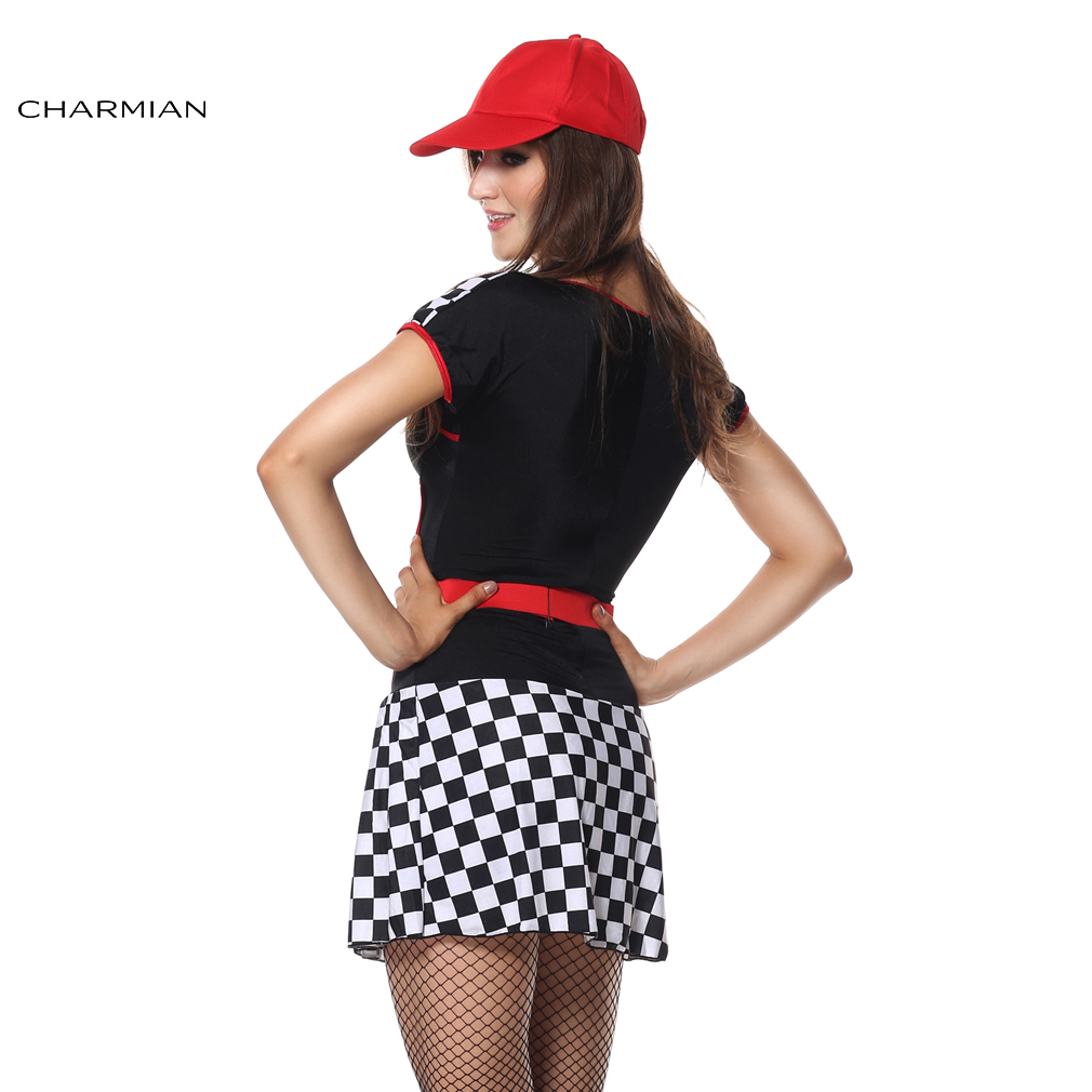Charmian Sexy Uniforms Race Car Driver Halloween Costume for Women Sexy Mini Dress Race Girl Game Costume Party Cosplay