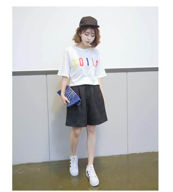 Casual loose cotton linen women shorts knee length breathable wide leg shorts fashion comfortable
