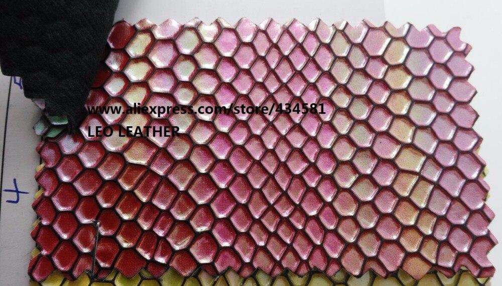 Molto Olografica Cambiare Colore In Pelle con Impresso A Nido D'ape  KD27