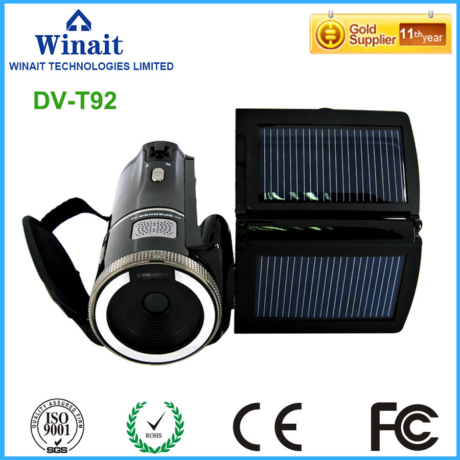 hd 720P digital solar video camera with 3.0'' TFT display and 8x digital zoom camcorder free shipping hot sale easy use hd 720p 12m 8x digital zoom video camcorder camera gift for family happy recording 1pc