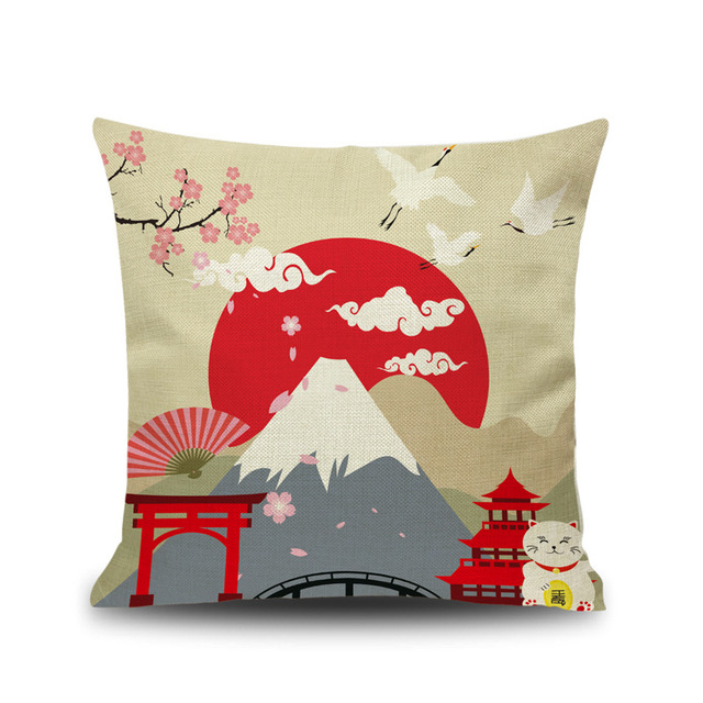 Fuji Mountain View Japanese Style Drawing Printed Cushion Cover