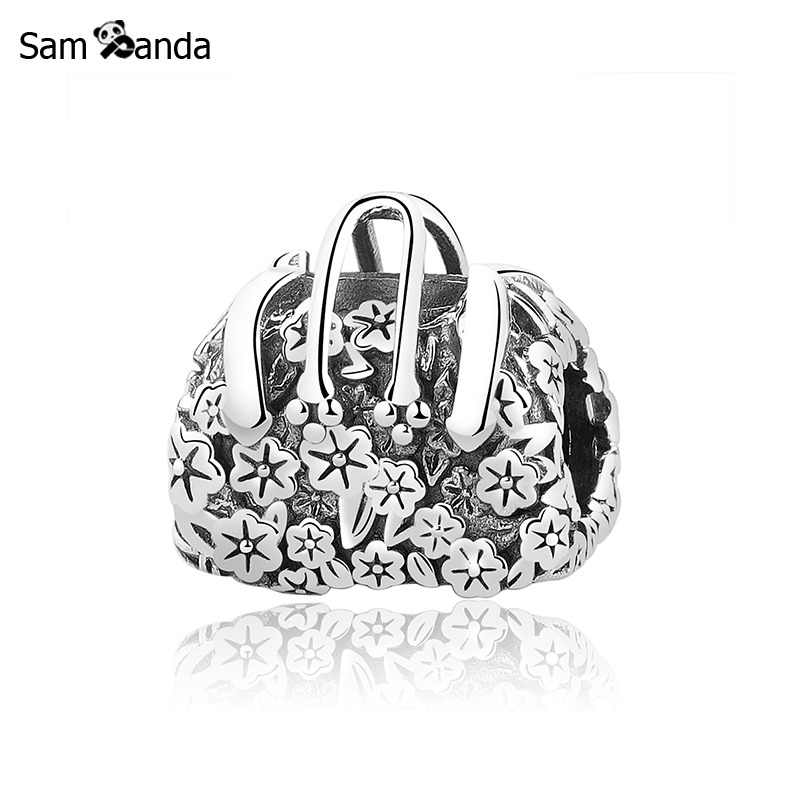 Original 100% 925 Sterling Silver Charm Bead Delicate Flowers Bag Charms Cartoon Fit Pandora Bracelets Women DIY Jewelry Making