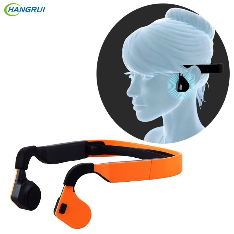 HANGRUI Bone Conduction Waterproof Wireless Bluetooth Earphones Neck-strap NFC Sports Stereo Headphones with Mic fone de ouvido dacom athlete g05 bluetooth headset wireless sport headphones stereo music earphones fone de ouvido with microphone