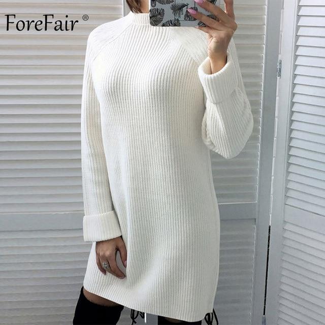 Forefair Winter Sexy Sweater Dress Women Autumn Warm Plus Size