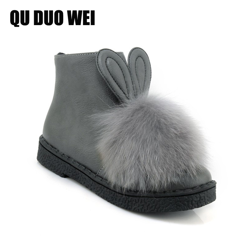 Snow Boots With Cute Rabbit Ears Real Fur Winter Ankle Boots Women Shoes Female Warm Platform Winter Short Boots Big Size 34-43 zorssar 2017 new classic winter plush women boots suede ankle snow boots female warm fur women shoes wedges platform boots