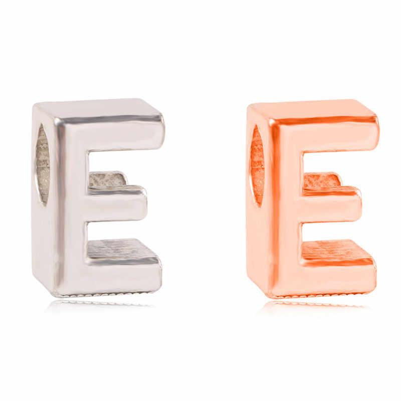 人格ローズゴールドシルバー色 26 手紙ビーズ創造コンビネーションのための適切な DIY パンドラブレスレットジュエリー欧州チャーム